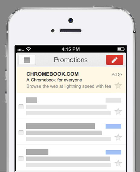 Gmail Sponsored Promotions iPhone chrome cromebook seomarket